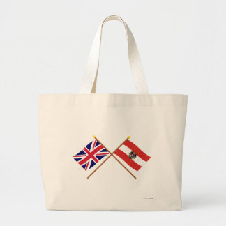 UK and Austria Crossed Flags Large Tote Bag