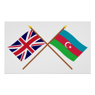 UK and Azerbaijan Crossed Flags Print