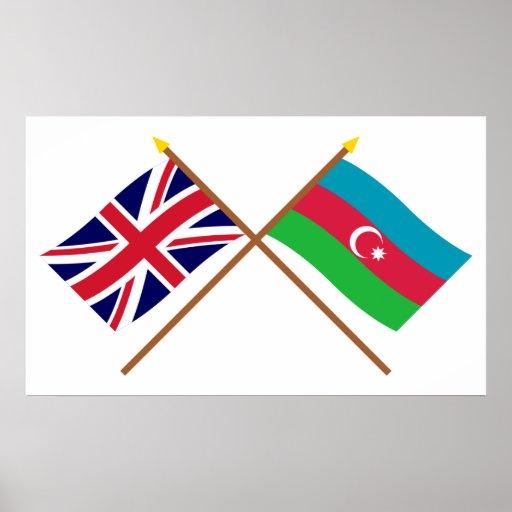 UK and Azerbaijan Crossed Flags Print