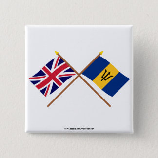 UK and Barbados Crossed Flags 15 Cm Square Badge