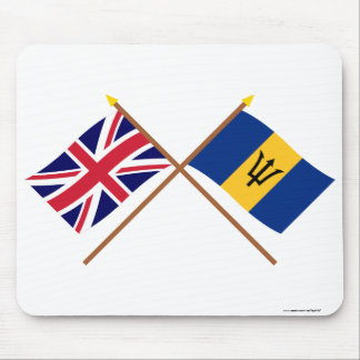 UK and Barbados Crossed Flags Mouse Mat
