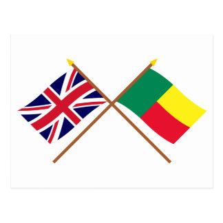 UK and Benin Crossed Flags Postcard