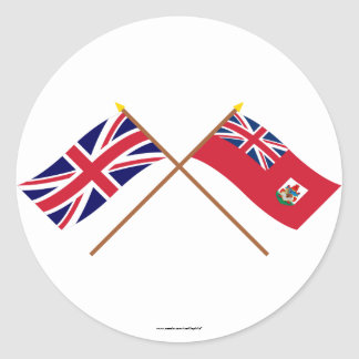 UK and Bermuda Crossed Flags Classic Round Sticker