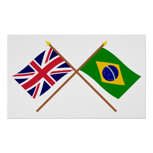 UK and Brazil Crossed Flags Print