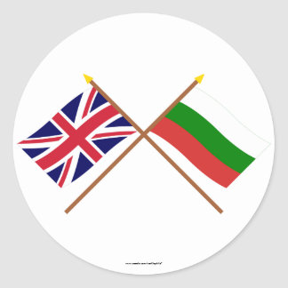 UK and Bulgaria Crossed Flags Classic Round Sticker