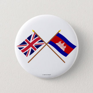 UK and Cambodia Crossed Flags 6 Cm Round Badge