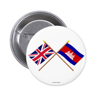 UK and Cambodia Crossed Flags 6 Cm Round Badge