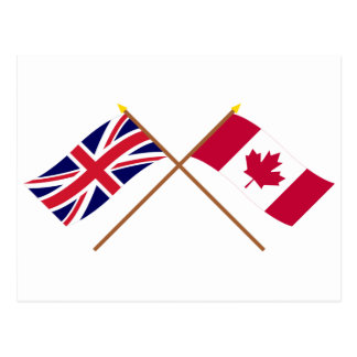 UK and Canada Crossed Flags Postcard