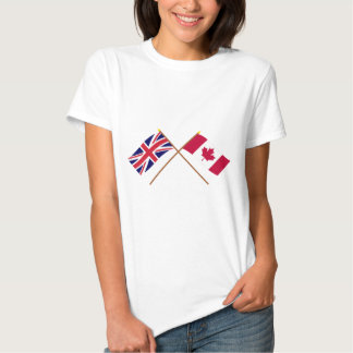 UK and Canada Crossed Flags Tee Shirt