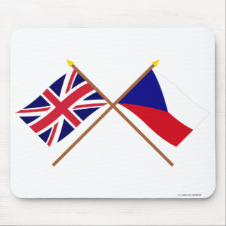 UK and Czech Republic Crossed Flags Mouse Mat