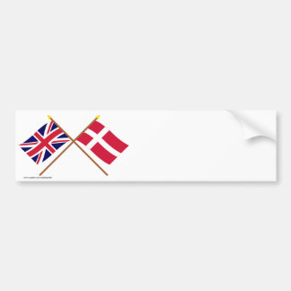 UK and Denmark Crossed Flags Bumper Stickers