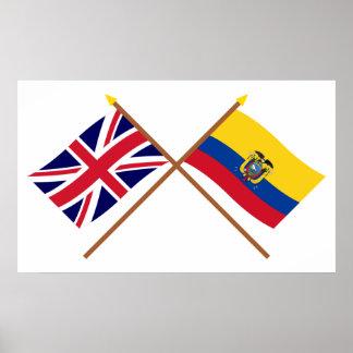 UK and Ecuador Crossed Flags Poster