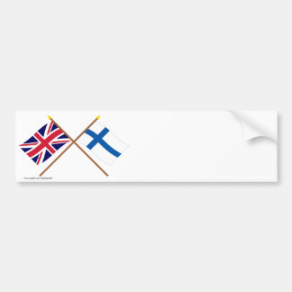 UK and Finland Crossed Flags Bumper Sticker