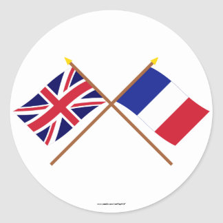 UK and France Crossed Flags Round Stickers