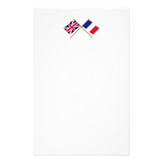 UK and France Crossed Flags Stationery