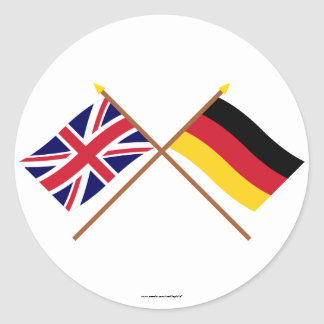 UK and Germany Crossed Flags Classic Round Sticker