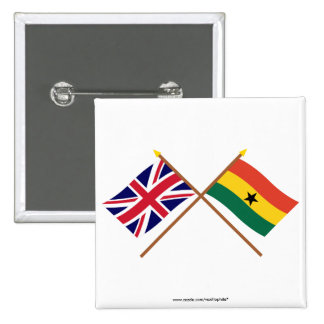 UK and Ghana Crossed Flags Pinback Button