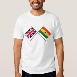 UK and Ghana Crossed Flags T Shirt