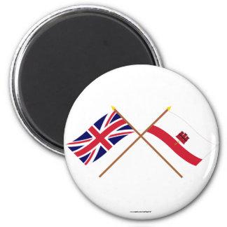 UK and Gibraltar Crossed Flags Fridge Magnets