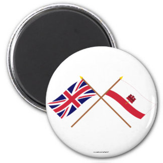 UK and Gibraltar Crossed Flags Magnet