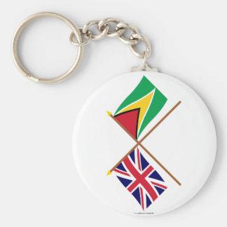 UK and Guyana Crossed Flags Key Chain