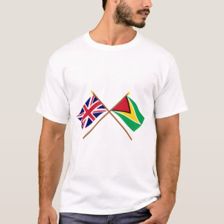 UK and Guyana Crossed Flags T-Shirt