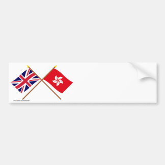 UK and Hong Kong Crossed Flags Car Bumper Sticker