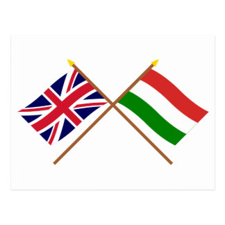 UK and Hungary Crossed Flags Post Card