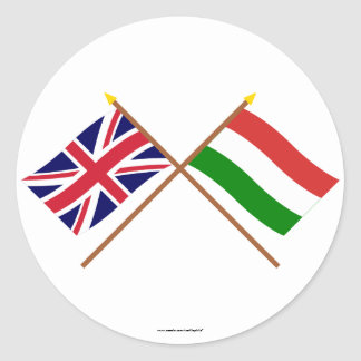 UK and Hungary Crossed Flags Round Sticker
