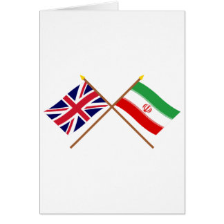 UK and Iran Crossed Flags Card