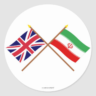 UK and Iran Crossed Flags Round Sticker
