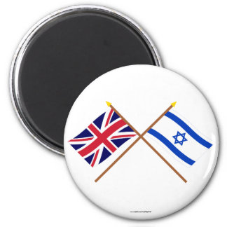 UK and Israel Crossed Flags 6 Cm Round Magnet