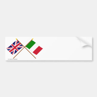 UK and Italy Crossed Flags Bumper Sticker