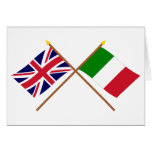 UK and Italy Crossed Flags Greeting Card
