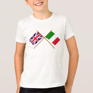 UK and Italy Crossed Flags T-Shirt