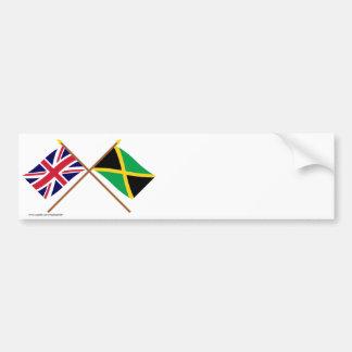 UK and Jamaica Crossed Flags Bumper Sticker