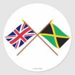 UK and Jamaica Crossed Flags Round Stickers