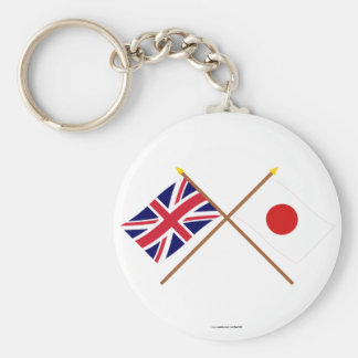 UK and Japan Crossed Flags Basic Round Button Key Ring
