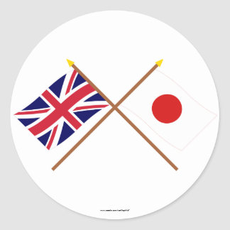 UK and Japan Crossed Flags Classic Round Sticker