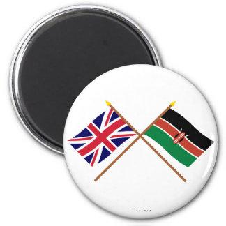 UK and Kenya Crossed Flags Magnet