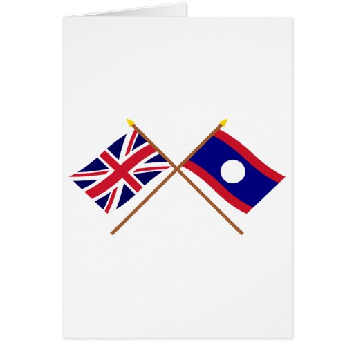UK and Laos Crossed Flags Greeting Cards