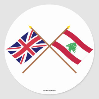 UK and Lebanon Crossed Flags Round Sticker