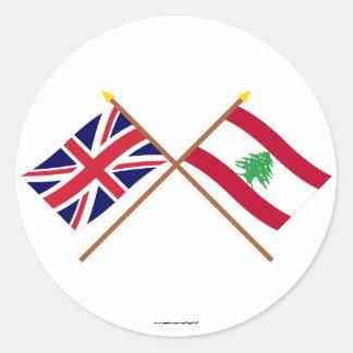 UK and Lebanon Crossed Flags Round Sticker