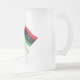 UK and Libya Crossed Flags Frosted Glass Mug