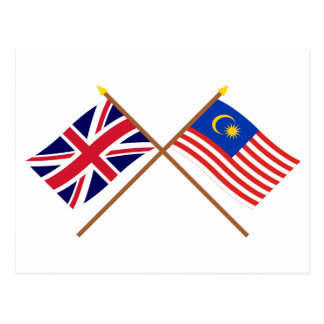 UK and Malaysia Crossed Flags Postcards