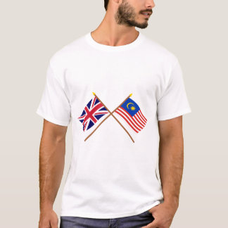 UK and Malaysia Crossed Flags T-Shirt