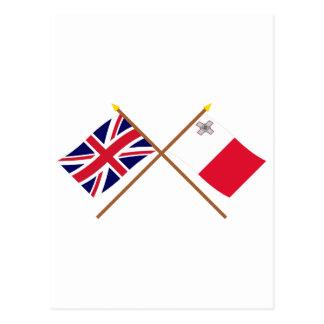 UK and Malta Crossed Flags Postcard