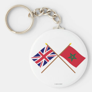 UK and Morocco Crossed Flags Keychain
