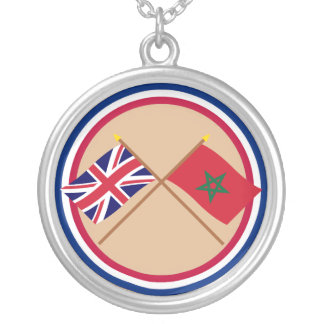 UK and Morocco Crossed Flags Jewelry