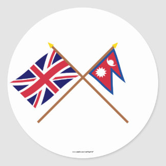 UK and Nepal Crossed Flags Round Sticker